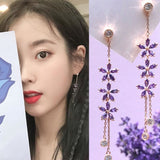 Star Purple Flower Crystal Drop Earrings