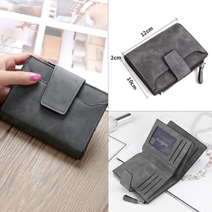 Leather Retro Short Wallet for Women