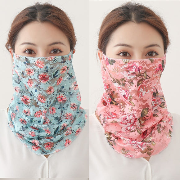 Face Scarf for Women - Floral Print