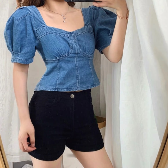 Vintage Square Collar  Denim Blouse