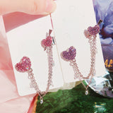Elegant Shiny Rhinestone Heart Long Chain Drop Earrings
