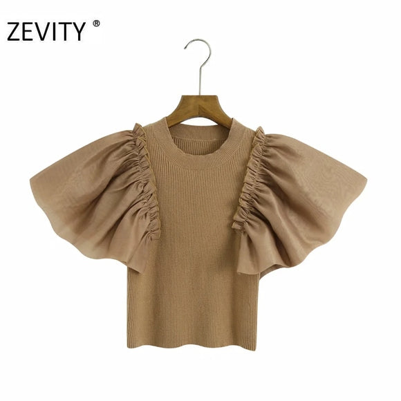 O-neck Pleated Ruffled Top