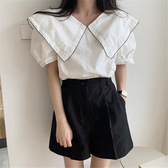 Lapel Puff Sleeve Top