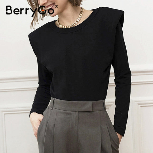 BerryGo Fashionable Black Office  Top For Women