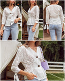 BerryGo Casual Solid White Embroidered Blouse