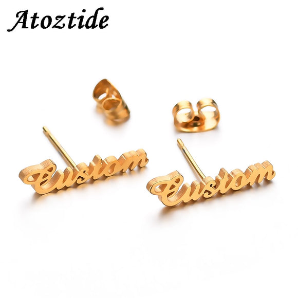 Personalized Name Stud Earrings For Women