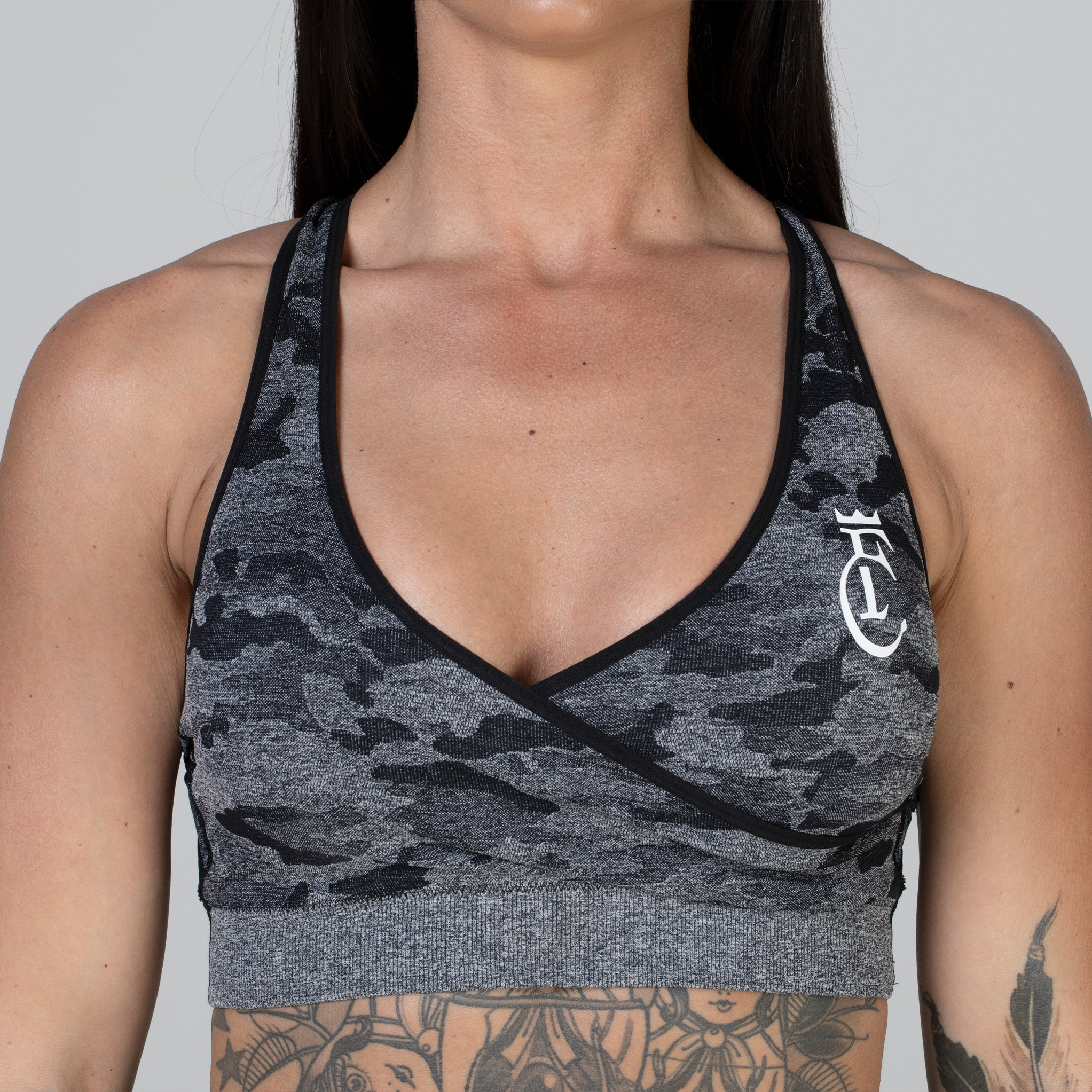 Camo Black & Grey Sports Bra