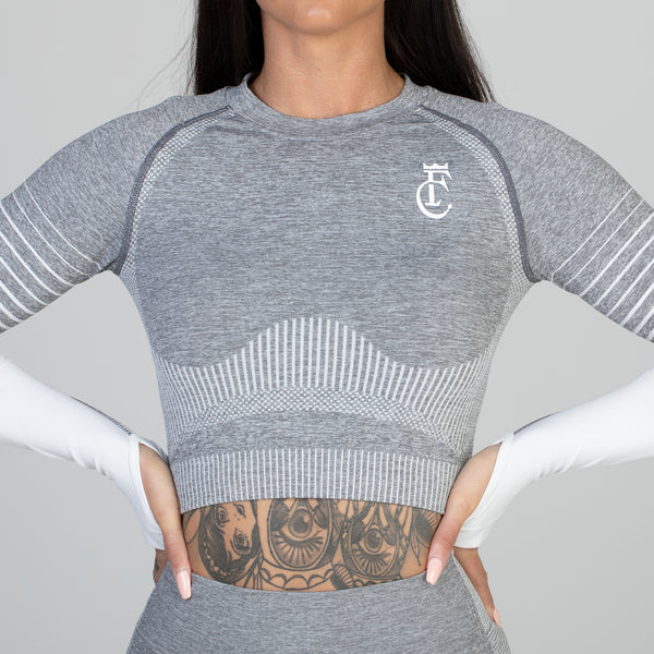 Grey Curve Seamless Long Sleeved Crop