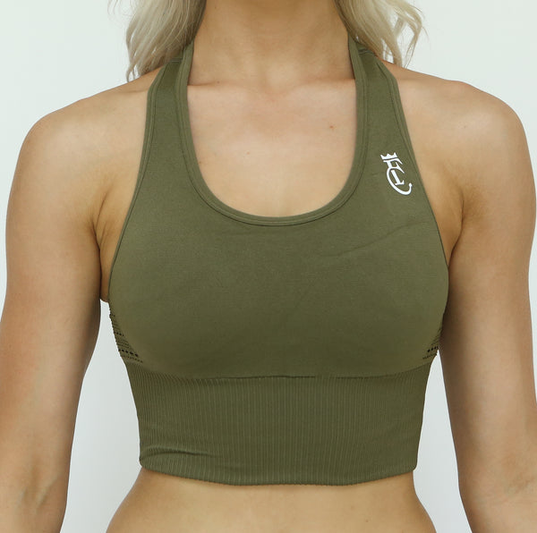 Ribbed Band Sports Bra - Olive