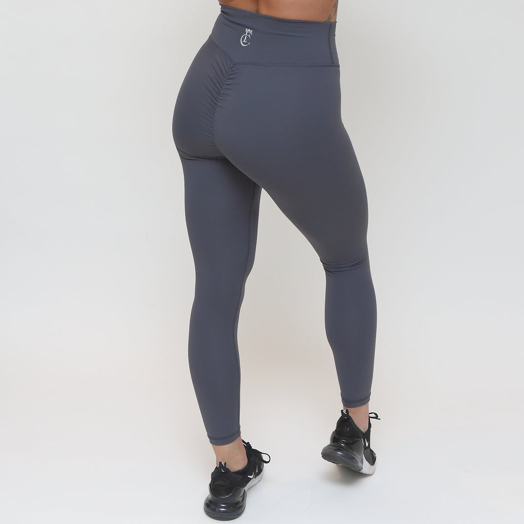 Full Length Scrunch Tights - Charcoal