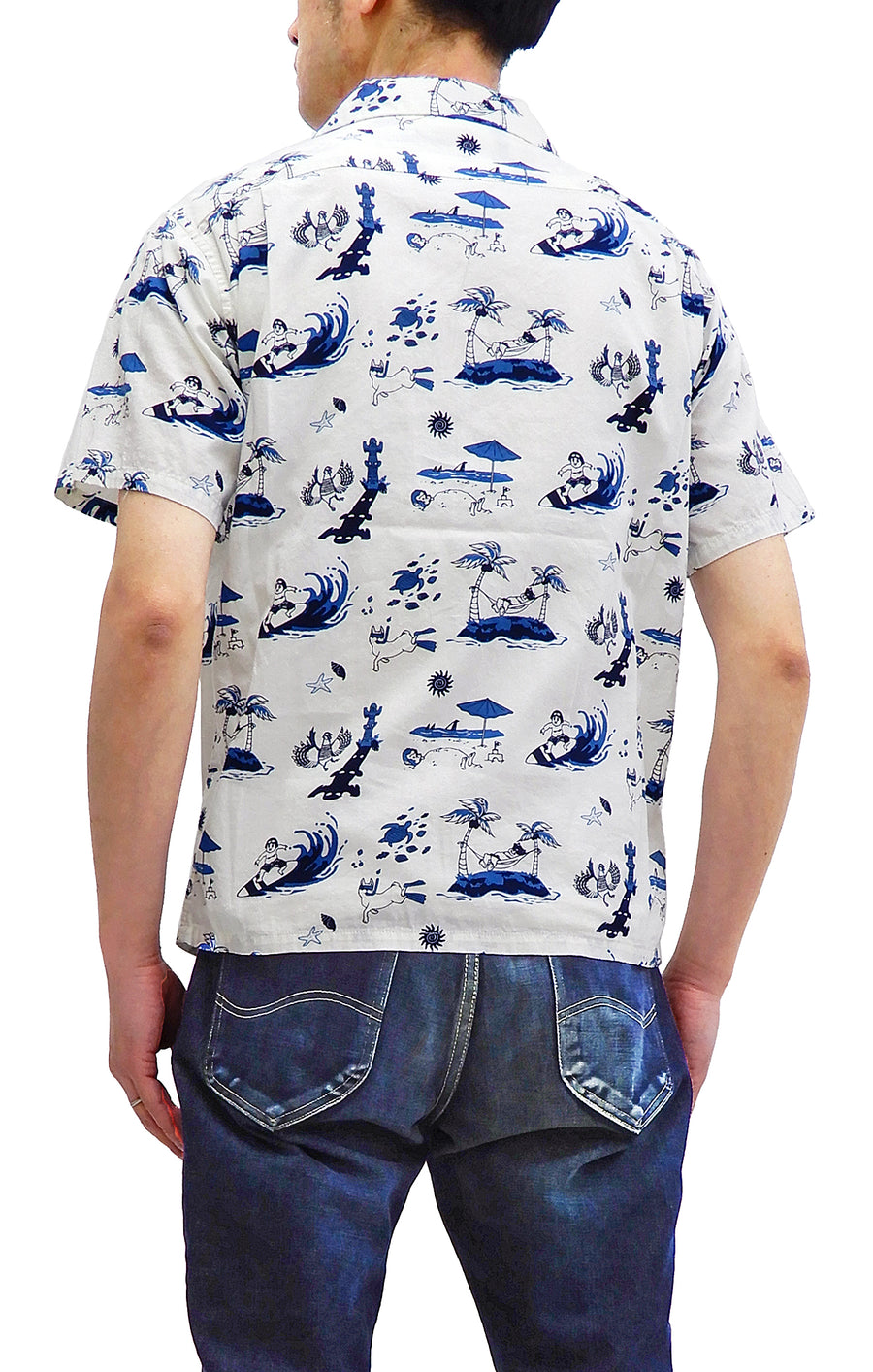 Momotaro Jeans Men's Hawaiian Shirt Short Sleeve Button Up Aloha Shirt All Over Print Button Up Shirt 06-091 White
