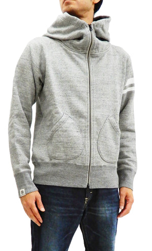 Momotaro Jeans Hoodie Men's High Neck Zip-Up Hooded Sweatshirt with GTB 07-044 Heather-Gray
