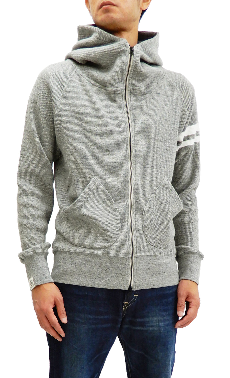 Momotaro Jeans Waffle-Knit Hoodie Men's Full Zip Hooded Thermal Shirt 07-045 Gray