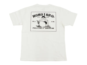 Momotaro Jeans T-shirt Men's Short Sleeve Tee with Stripe and Brand Logo 07-072 White