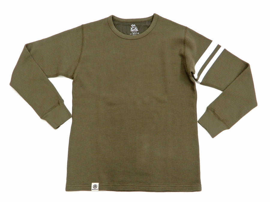 Momotaro Jeans Men's Long Sleeve Waffle-Knit Thermal T-Shirt with Stripe 07-079 OD Olive-Green
