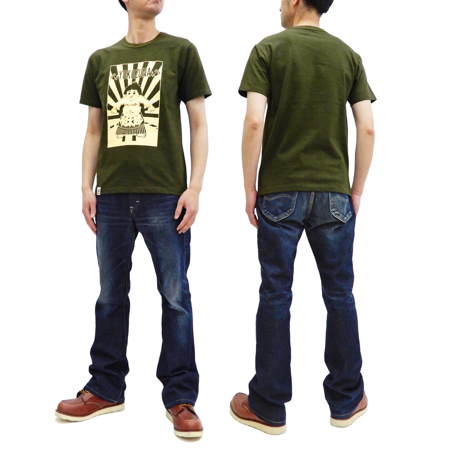 Momotaro Jeans T-shirt Men's Short Sleeve Tee with Sumo Yokozuna Graphic 07-085 Olive