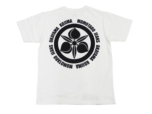Momotaro Jeans T-shirt Men's Short Sleeve Kamon Japanese Emblem Tee 07-110 White