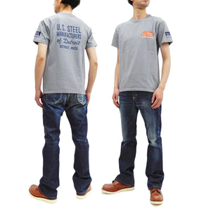 Pherrow's T-Shirt Men's Loopwheeled Short Sleeve Graphic Tee Pherrows 21S-PT3 Ice-Gray