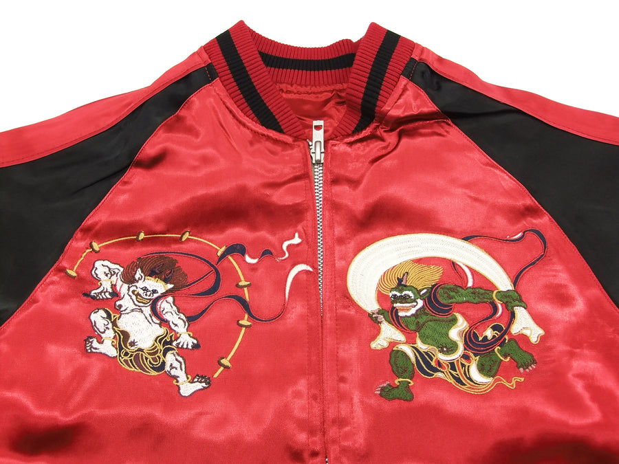 Japanesque Japanese Souvenir Jacket 3RSJ-020 Fujin Raijin Men's Sukajan Red/Black