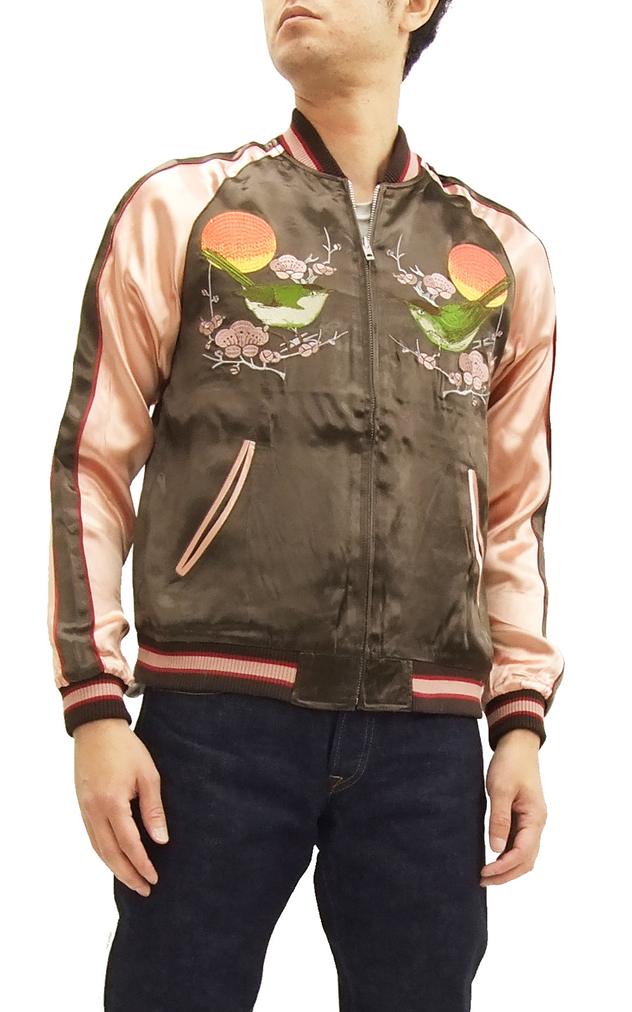 Japanesque Script Japanese Souvenir Jacket 3RSJ-030 Ume and Bird Men's Sukajan Charcoal-Gray/Pink
