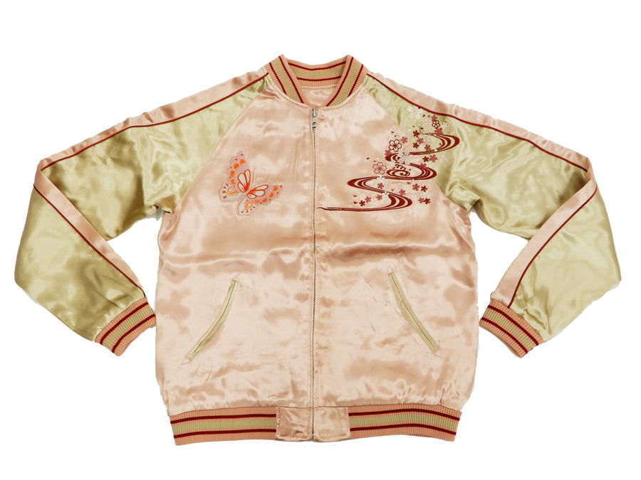 Japanesque Men's Japanese Souvenir Jacket Japanese Butterfly and Cherry Blossoms Sukajan 3RSJ-040 Pink/Beige