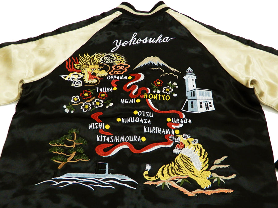 Japanesque Script Men's Japanese Souvenir Jacket YOKOSUKA MAP Sukajan 3RSJ-042 Black/Beige