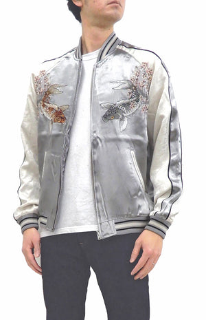 Japanesque Sukajan Men's Japanese Souvenir Jacket Japanese Koi fish 3RSJ-754 Gray/Off