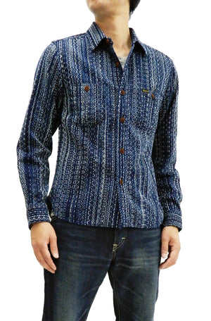 Studio D'artisan Sashiko Shirt Men's Japanese Sashiko Fabric Long Sleeve Button Up Shirt Indigo 5606 Indigo(B)