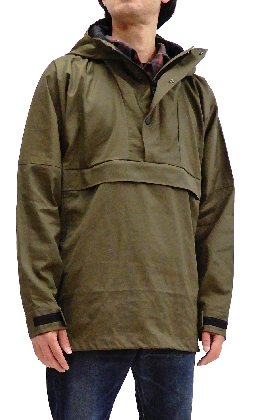 ZANTER JAPAN Men's Anorak Parka Lightweight Ventile Unlined Pullover Hooded Jacket 6903 Khaki