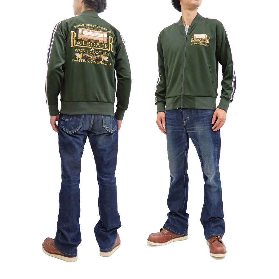Studio D'artisan Men's Fashion Zip-Up Track Jacket with Embroidery 8008 Green