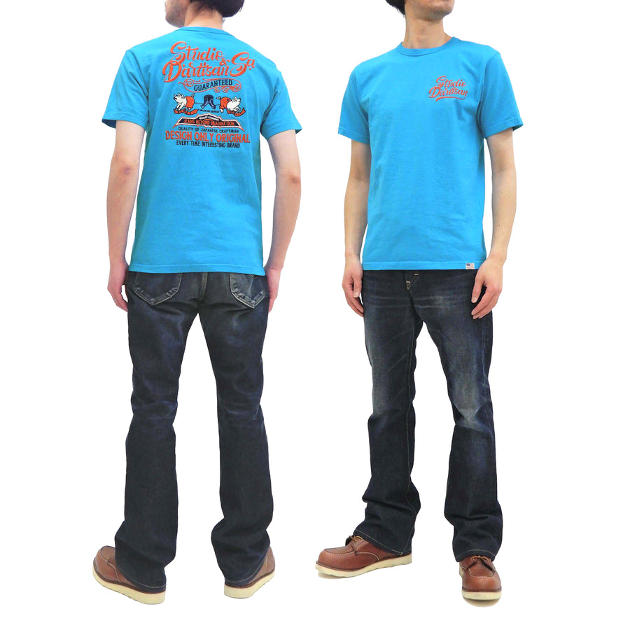 Studio D'artisan T-shirt Men's Short Sleeve Embroidered Tee Made in Japan 9999 Turquoise-Blue