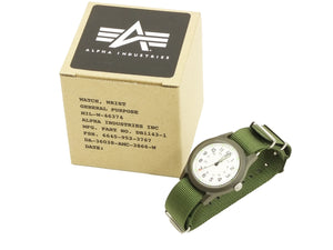 Alpha Industries Men's Vietnam Watch Quartz Analog Military Wrist Watch ALW-46374 White/Green