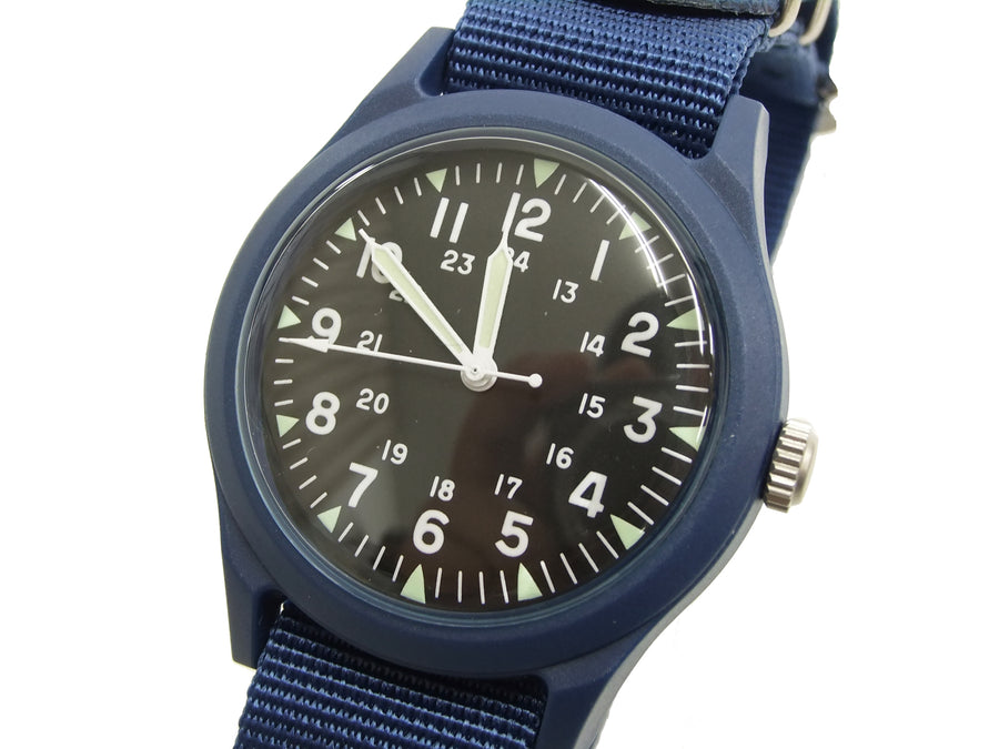 Alpha Industries Men's Vietnam Watch Quartz Analog Military Wrist Watch ALW-46374 Black/Blue