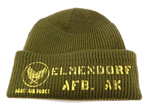 Buzz Rickson Men's USAAF A-4 Mechanics Cap Stencil Wool Knit Winter Hat BR02603 Olive-Green