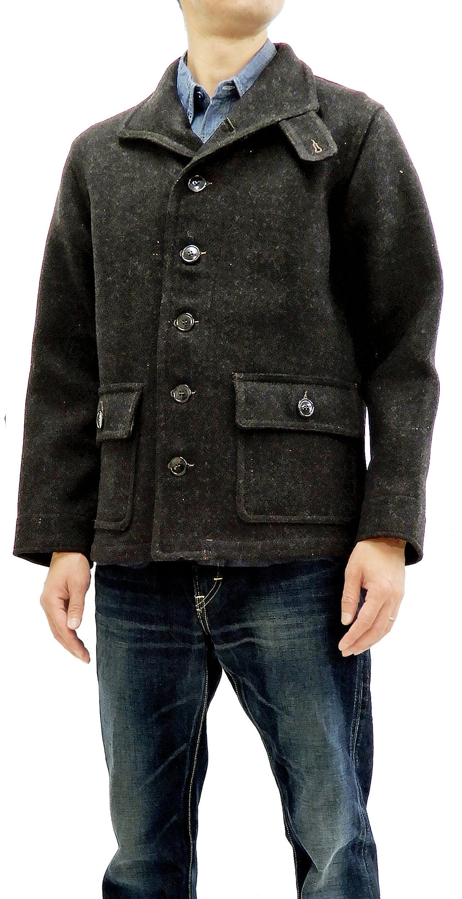 Buzz Rickson Men's US Navy Winter Woolen Submariner Coat Melton jacket BR13877 Charcoal