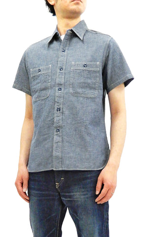 Buzz Rickson Chambray Shirt, Men's U.S. Navy Military Style Short Sleeve Button Up Shirt BR35856 Blue