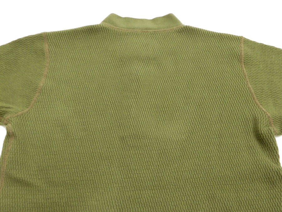 Buzz Rickson Thermal Henley T-Shirt Men's Plain Waffle Long Sleeve Tee BR68130 Olive