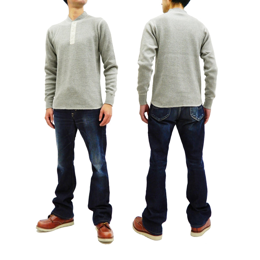 Buzz Rickson Thermal Henley T-Shirt Men's Plain Waffle Long Sleeve Tee BR68130 Heather-Gray