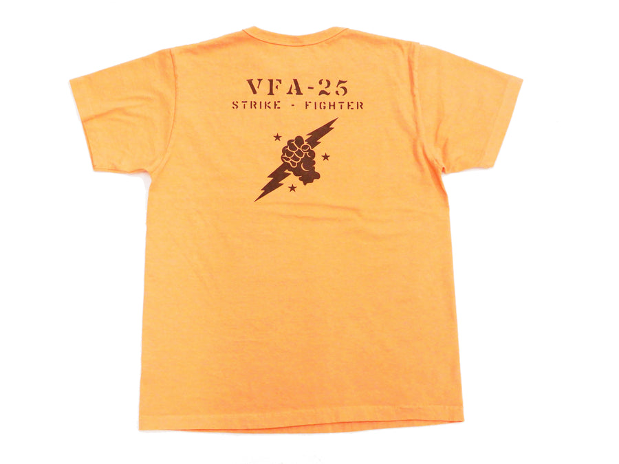 Buzz Rickson T-shirt Men's USN VFA-25 Military Graphic Short Sleeve Loopwheeled Tee BR78290 Faded Orange