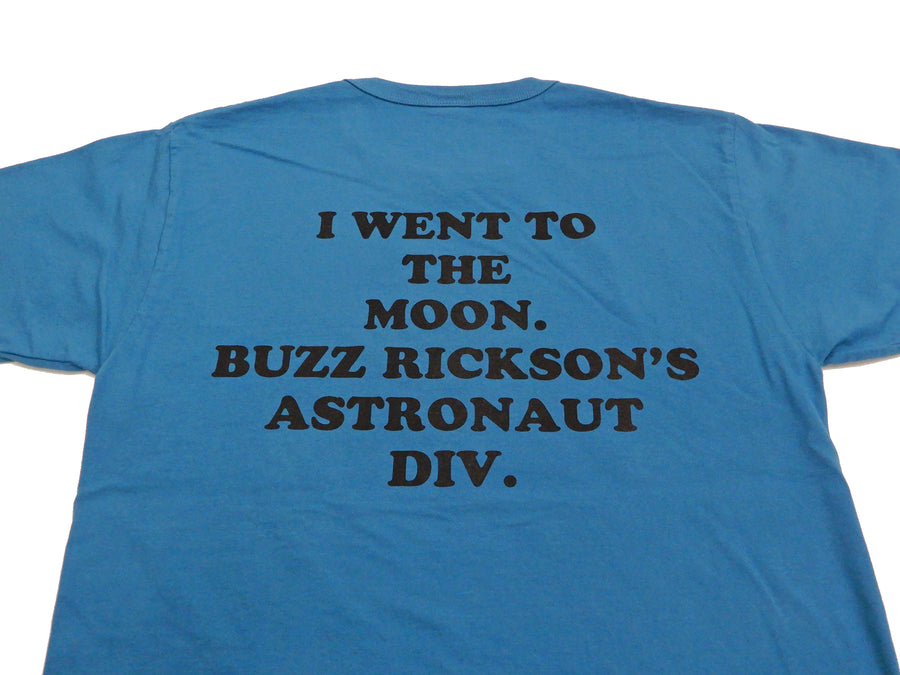 Buzz Rickson T-shirt Mens Astronaut Snoopy Short Sleeve Loop-wheeled Tee BR78423 Turquoise