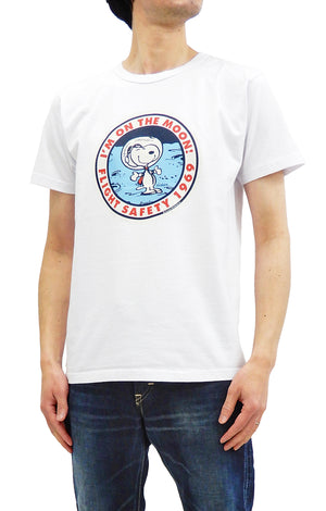 Buzz Rickson T-shirt Mens Astronaut Snoopy Short Sleeve Loop-wheeled Tee BR78423 White