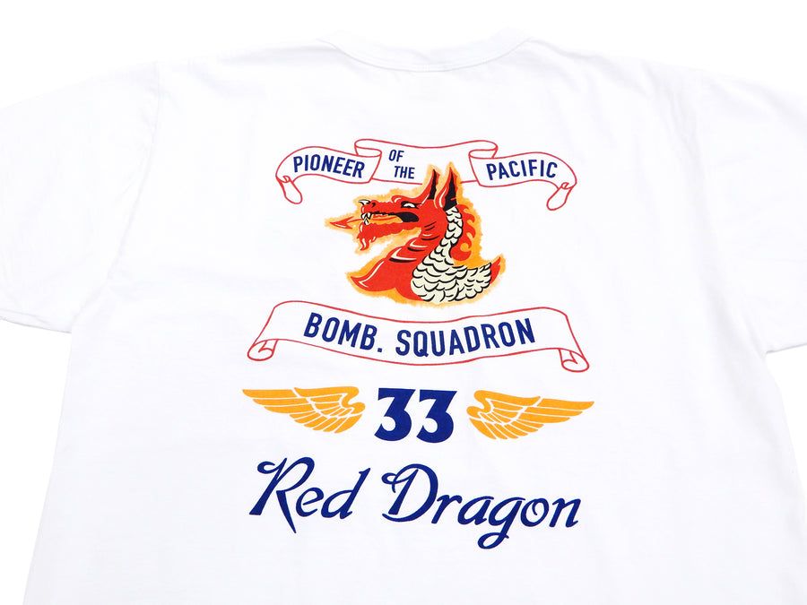Buzz Rickson T-shirt Men's Red Dragons Short Sleeve Loop-wheeled Tee BR78516 White