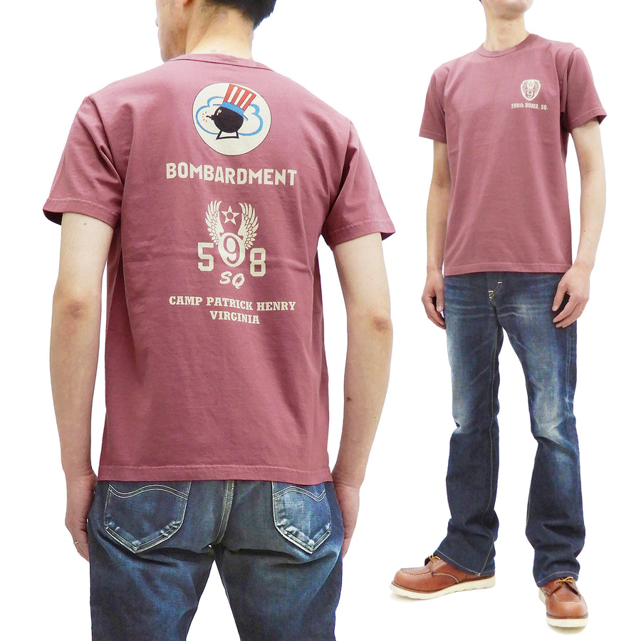 Buzz Rickson T-shirt Men's Military Graphic Short Sleeve Loopwheeled Tee BR78777 Wine-Red