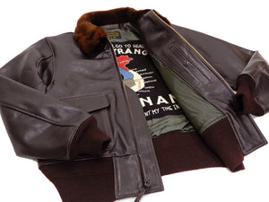 Buzz Rickson Men's G-1 Flight Jacket Goatskin Leather G1 Custom Painted BR80559 Seal-Brown