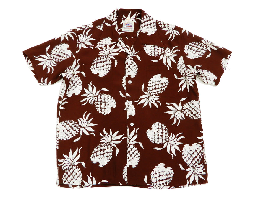 Duke Kahanamoku Men's Hawaiian Shirt Pineapple Short Sleeve Aloha shirt DK36201 Brown