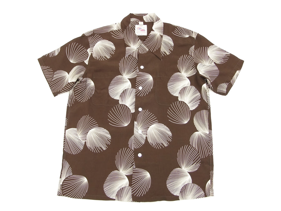 Duke Kahanamoku Hawaiian Shirt Men's Short Sleeve Aloha shirt Duke's Shell DK37570 Brown