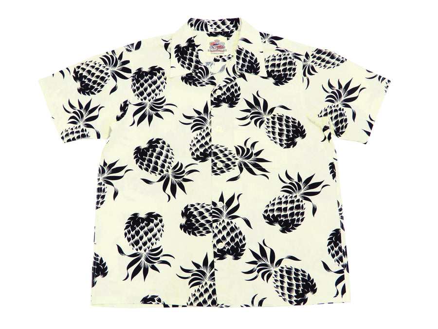 Duke Kahanamoku Men's Cotton Hawaiian Shirt Pineapple Short Sleeve Aloha Shirt DK37811 Off-White