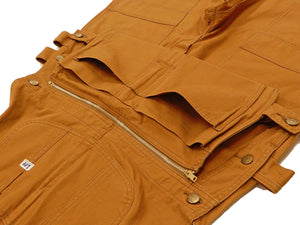 Lee Overalls Men's Camel-Brown Duck Carpenter Bib Overall with Zip-Off Nail Pouch and Double knees Lee-Japan LM4858