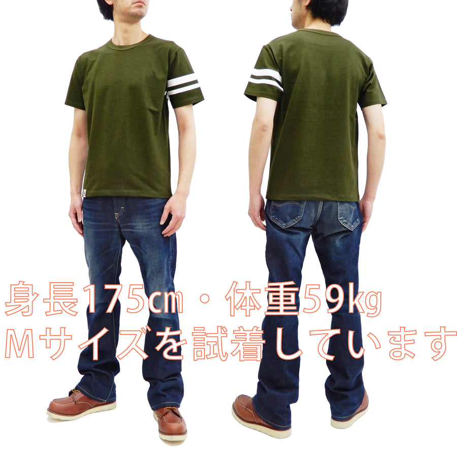 Momotaro Jeans T-shirt Men's Short Sleeve Slub Tee with Stripe on Left Arm MT302 OD Olive