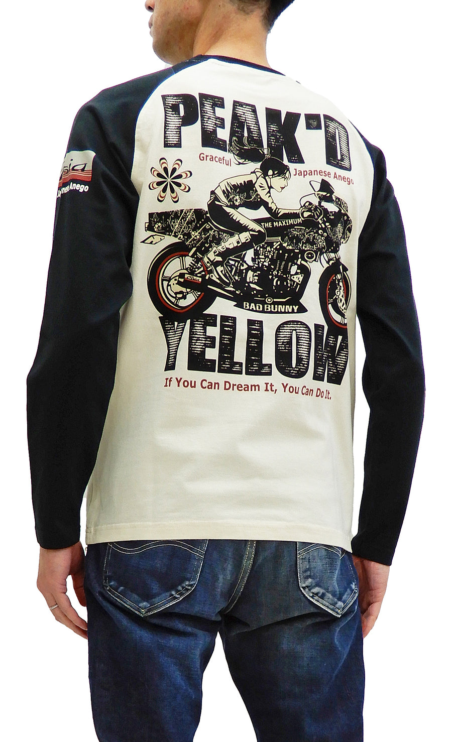 Peaked Yellow T-shirt Men's Japanese Woman Motorcycle Long Sleeve Tee PYLT-223 Off/Black